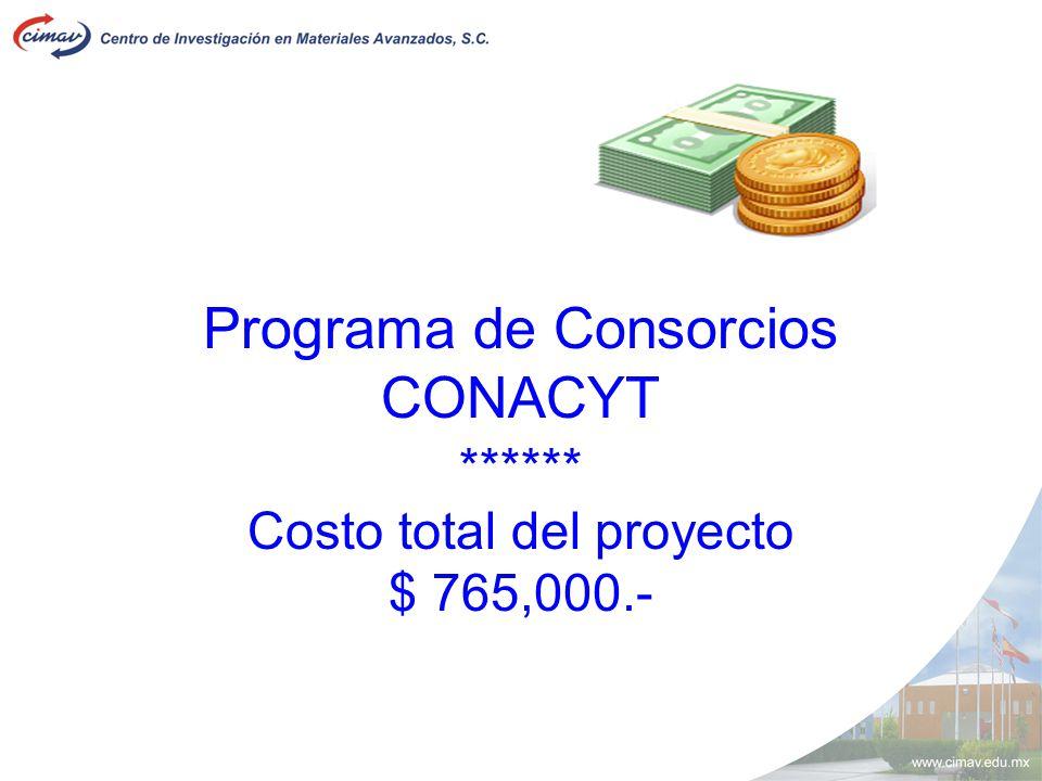 Programa de Consorcios CONACYT ****** Costo total del proyecto $ 765,000.-