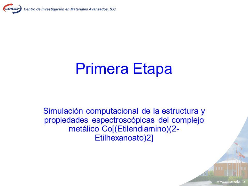 Primera Etapa Simulación computacional de la estructura y propiedades espectroscópicas del complejo metálico Co[(Etilendiamino)(2- Etilhexanoato)2]