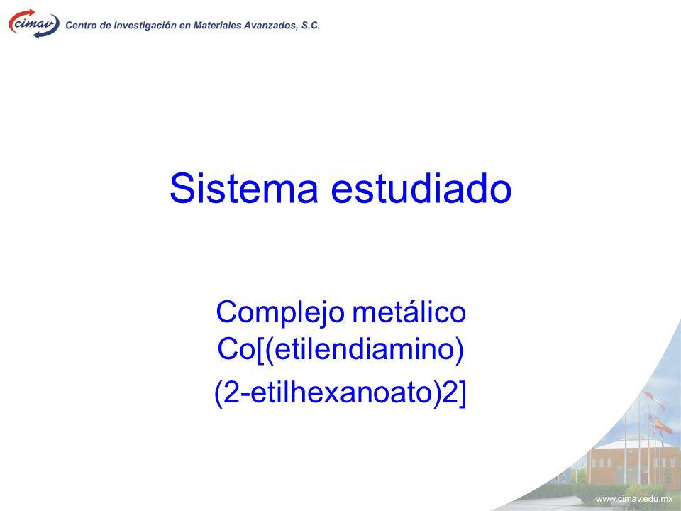 Sistema estudiado Complejo metálico Co[(etilendiamino) (2-etilhexanoato)2]