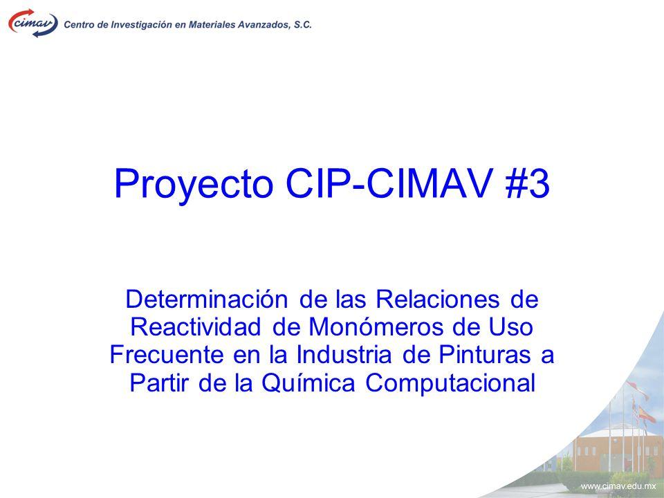 Proyecto CIP-CIMAV #3 Determinación de las Relaciones de Reactividad de Monómeros de Uso Frecuente en la Industria de Pinturas a Partir de la Química