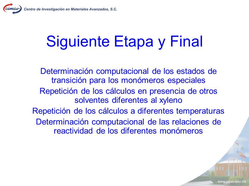 Siguiente Etapa y Final Determinación computacional de los estados de transición para los monómeros especiales Repetición de los cálculos en presencia