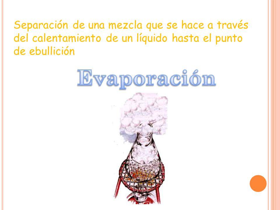 Separación de una mezcla que se hace a través del calentamiento de un líquido hasta el punto de ebullición