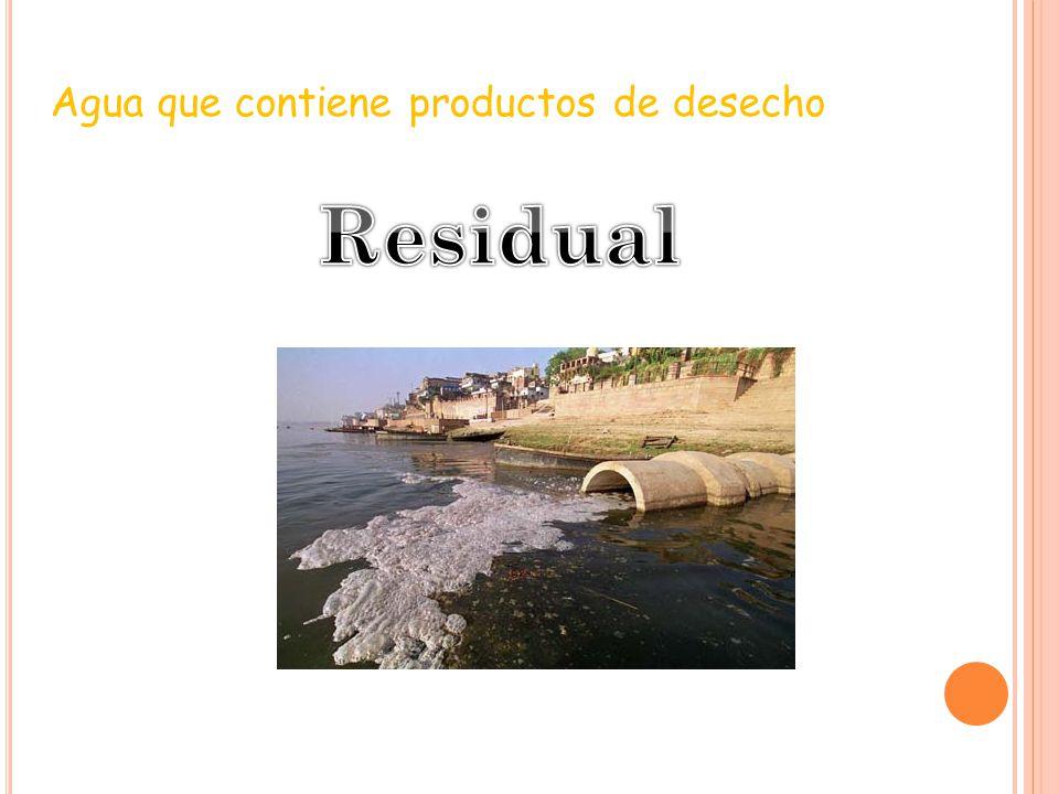 Agua que contiene productos de desecho
