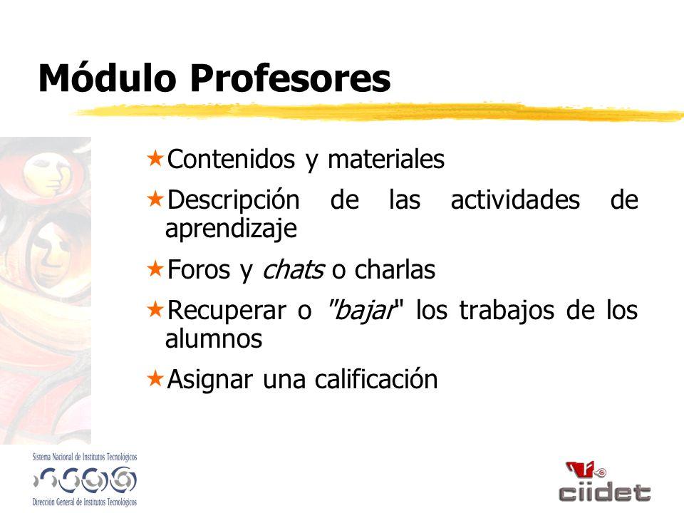 Módulo Profesores Contenidos y materiales Descripción de las actividades de aprendizaje Foros y chats o charlas Recuperar o bajar los trabajos de los alumnos Asignar una calificación