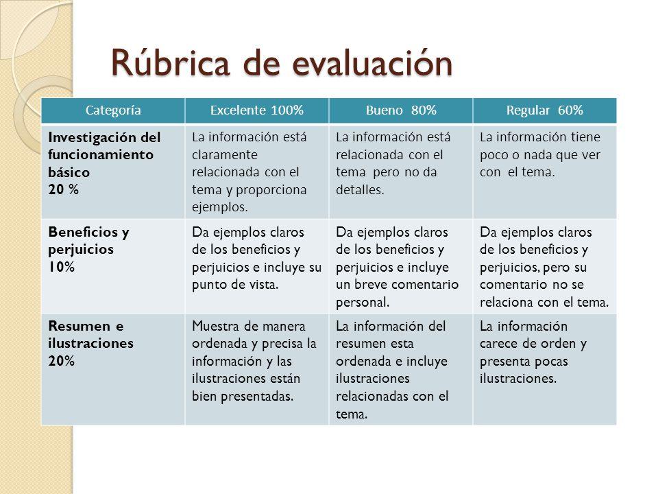 Rúbrica de evaluación CategoríaExcelente 100%Bueno 80%Regular 60% Investigación del funcionamiento básico 20 % La información está claramente relacion