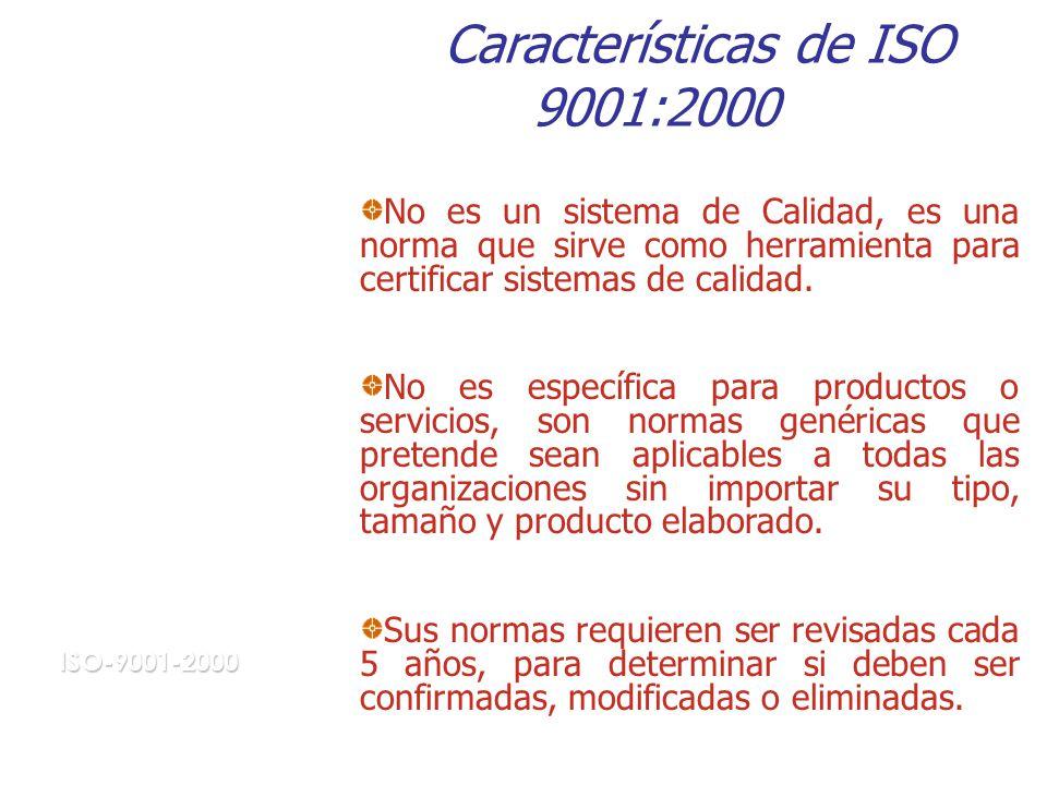 Características de ISO 9001:2000 No es un sistema de Calidad, es una norma que sirve como herramienta para certificar sistemas de calidad.