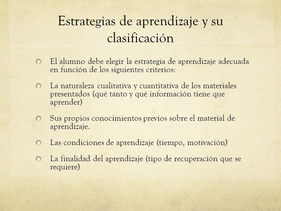 Estrategias de aprendizaje y su clasificación El alumno debe elegir la estrategia de aprendizaje adecuada en función de los siguientes criterios: La n