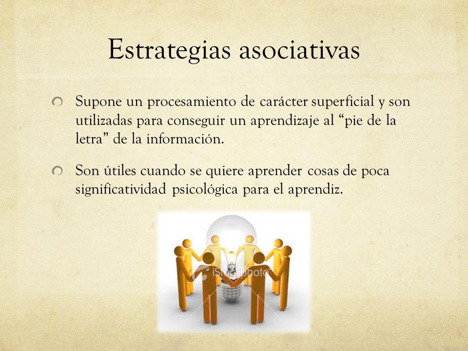 Estrategias asociativas Supone un procesamiento de carácter superficial y son utilizadas para conseguir un aprendizaje al pie de la letra de la información.