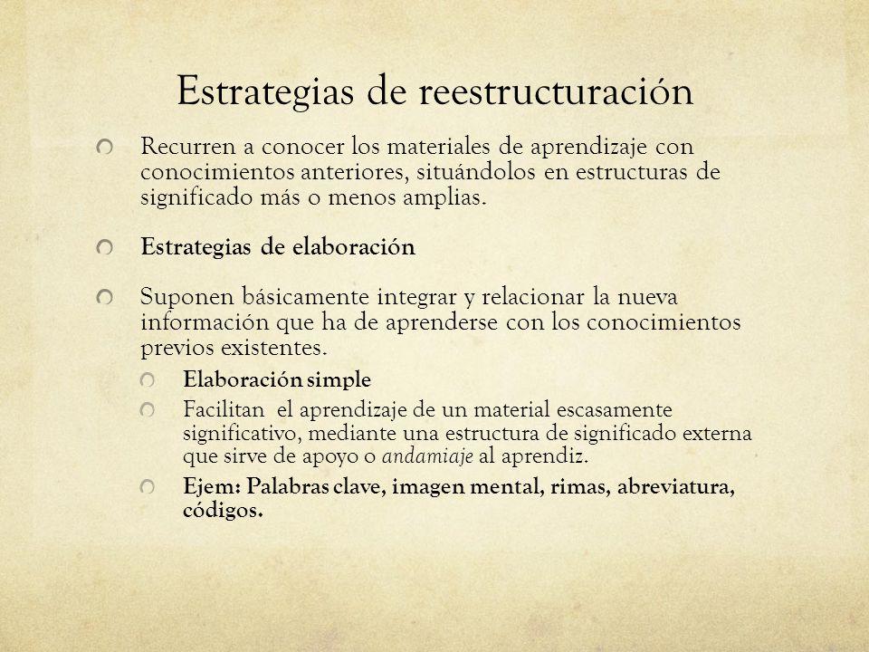 Estrategias de reestructuración Recurren a conocer los materiales de aprendizaje con conocimientos anteriores, situándolos en estructuras de significado más o menos amplias.