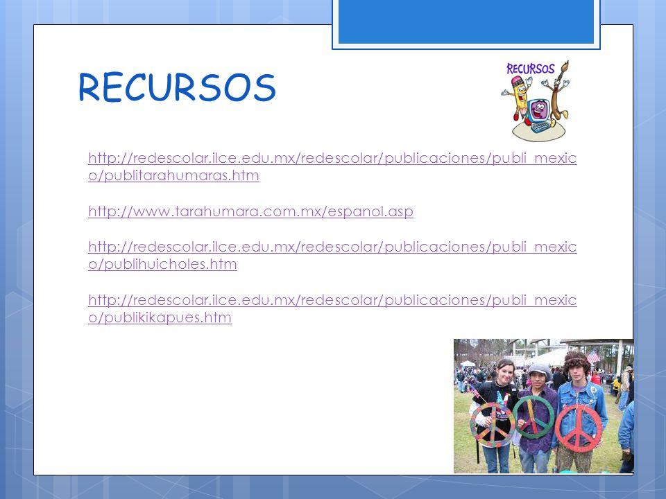 RECURSOS http://redescolar.ilce.edu.mx/redescolar/publicaciones/publi_mexic o/publitarahumaras.htm http://www.tarahumara.com.mx/espanol.asp http://redescolar.ilce.edu.mx/redescolar/publicaciones/publi_mexic o/publihuicholes.htm http://redescolar.ilce.edu.mx/redescolar/publicaciones/publi_mexic o/publikikapues.htm
