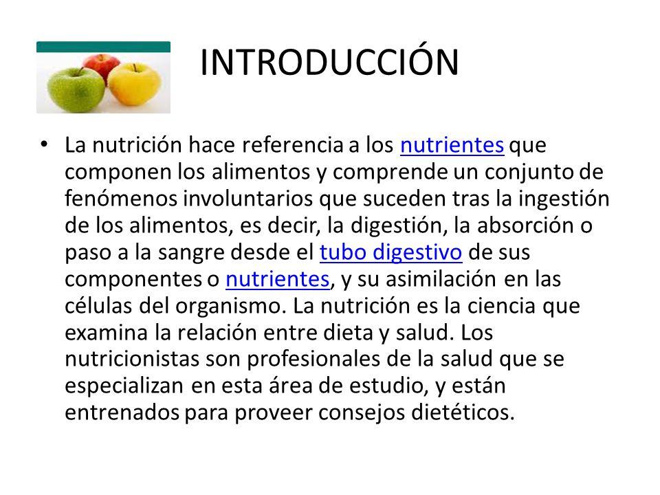 INTRODUCCIÓN La nutrición hace referencia a los nutrientes que componen los alimentos y comprende un conjunto de fenómenos involuntarios que suceden t