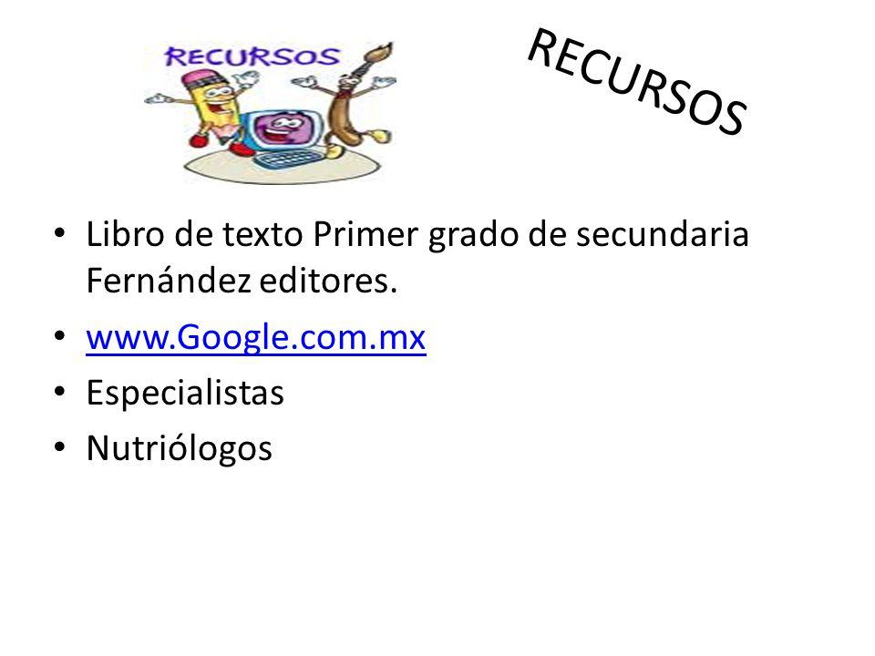 RECURSOS Libro de texto Primer grado de secundaria Fernández editores. www.Google.com.mx Especialistas Nutriólogos