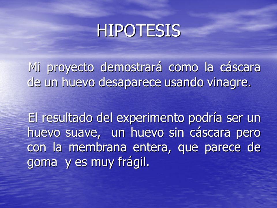 HIPOTESIS Mi proyecto demostrará como la cáscara de un huevo desaparece usando vinagre. Mi proyecto demostrará como la cáscara de un huevo desaparece