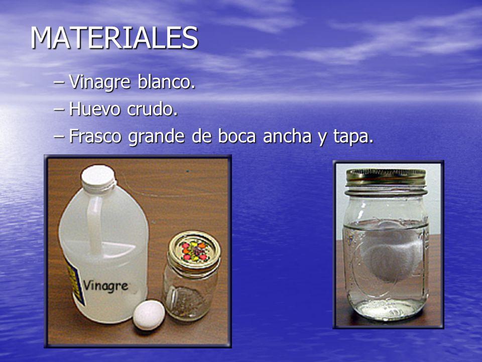 PROCEDIMIENTO –Llena el frasco con vinagre blanco –Con cuidado de no romperlo, coloca el huevo crudo dentro del frasco con vinagre –Coloca la tapa al frasco.