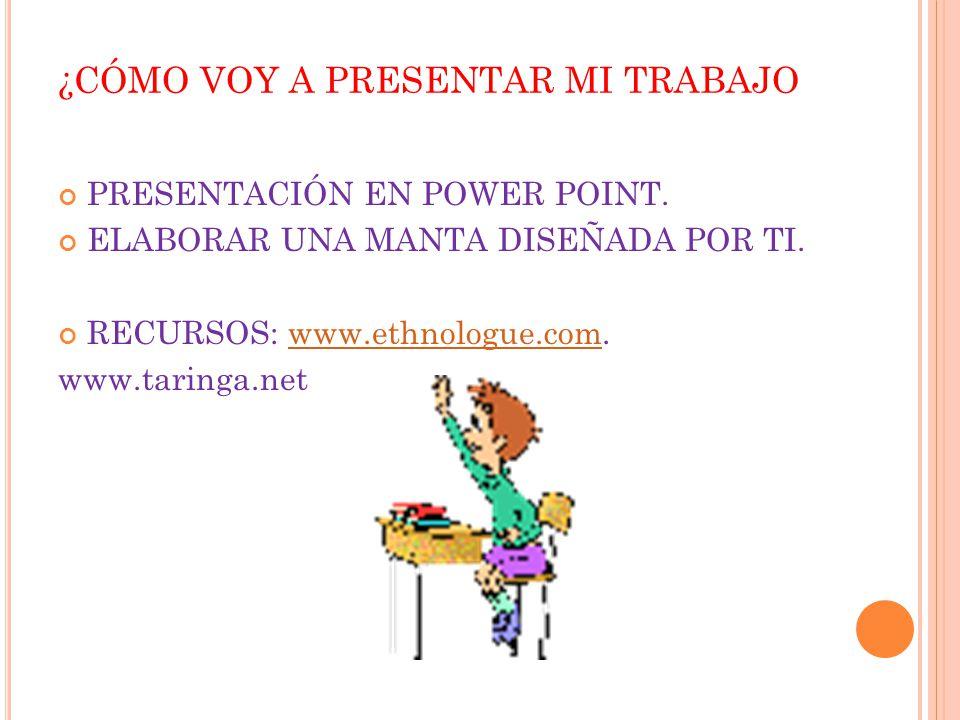 ¿CÓMO VOY A PRESENTAR MI TRABAJO PRESENTACIÓN EN POWER POINT. ELABORAR UNA MANTA DISEÑADA POR TI. RECURSOS: www.ethnologue.com.www.ethnologue.com www.