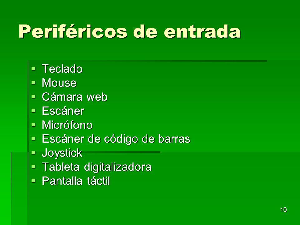 10 Periféricos de entrada Teclado Teclado Mouse Mouse Cámara web Cámara web Escáner Escáner Micrófono Micrófono Escáner de código de barras Escáner de