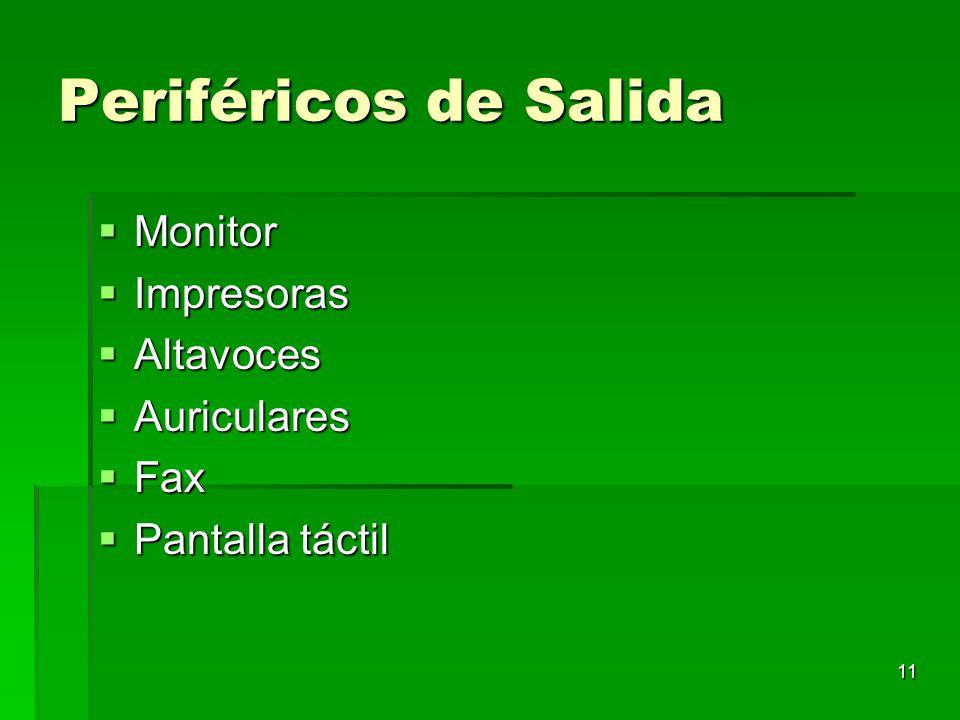11 Periféricos de Salida Monitor Monitor Impresoras Impresoras Altavoces Altavoces Auriculares Auriculares Fax Fax Pantalla táctil Pantalla táctil