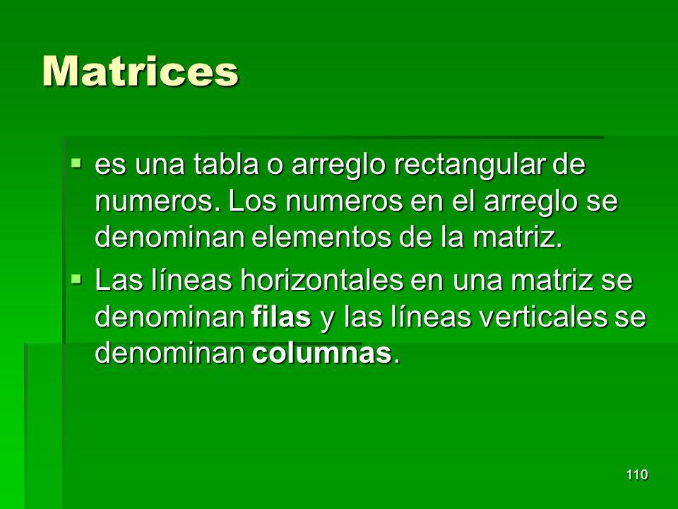 Matrices es una tabla o arreglo rectangular de numeros. Los numeros en el arreglo se denominan elementos de la matriz. es una tabla o arreglo rectangu