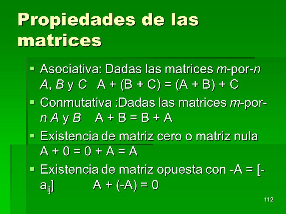Propiedades de las matrices Asociativa: Dadas las matrices m-por-n A, B y C A + (B + C) = (A + B) + C Asociativa: Dadas las matrices m-por-n A, B y C