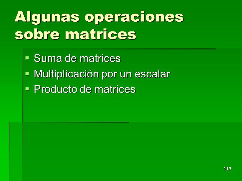 Algunas operaciones sobre matrices Suma de matrices Suma de matrices Multiplicación por un escalar Multiplicación por un escalar Producto de matrices