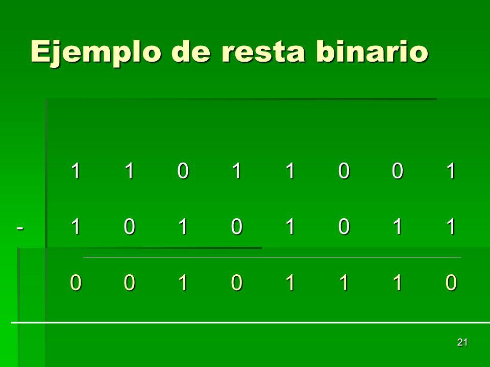 21 Ejemplo de resta binario 11011001 -10101011 00101110
