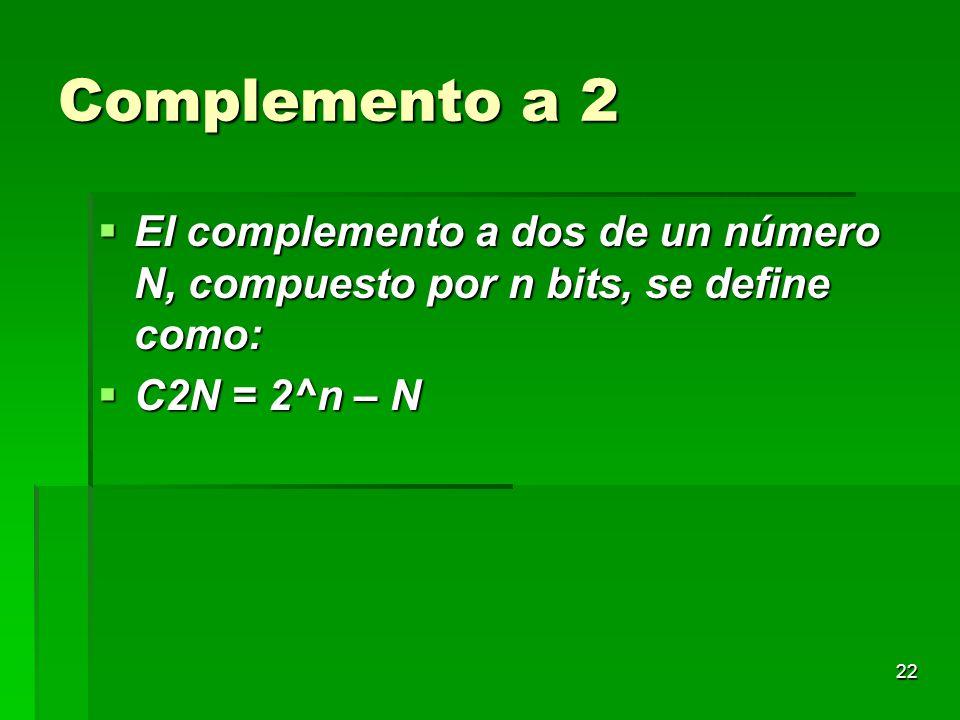 22 Complemento a 2 El complemento a dos de un número N, compuesto por n bits, se define como: El complemento a dos de un número N, compuesto por n bit