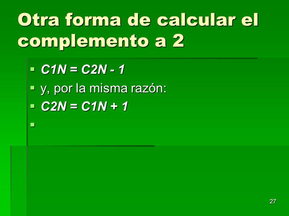 27 Otra forma de calcular el complemento a 2 C1N = C2N - 1 C1N = C2N - 1 y, por la misma razón: y, por la misma razón: C2N = C1N + 1 C2N = C1N + 1