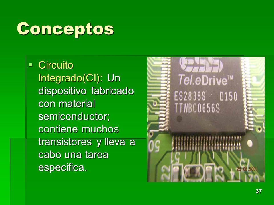 37 Conceptos Circuito Integrado(CI): Un dispositivo fabricado con material semiconductor; contiene muchos transistores y lleva a cabo una tarea especi