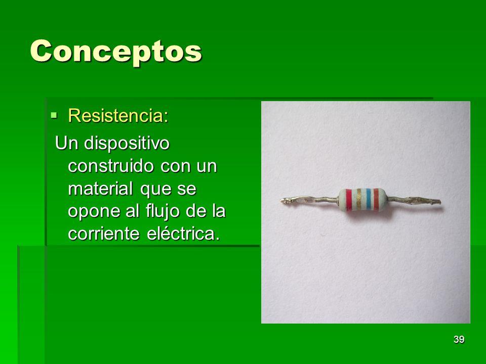 39 Conceptos Resistencia: Resistencia: Un dispositivo construido con un material que se opone al flujo de la corriente eléctrica. Un dispositivo const