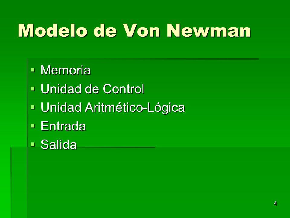 4 Modelo de Von Newman Memoria Memoria Unidad de Control Unidad de Control Unidad Aritmético-Lógica Unidad Aritmético-Lógica Entrada Entrada Salida Sa