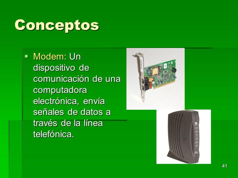 41 Conceptos Modem: Un dispositivo de comunicación de una computadora electrónica, envía señales de datos a través de la línea telefónica. Modem: Un d