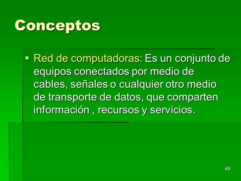 45 Conceptos Red de computadoras: Es un conjunto de equipos conectados por medio de cables, señales o cualquier otro medio de transporte de datos, que