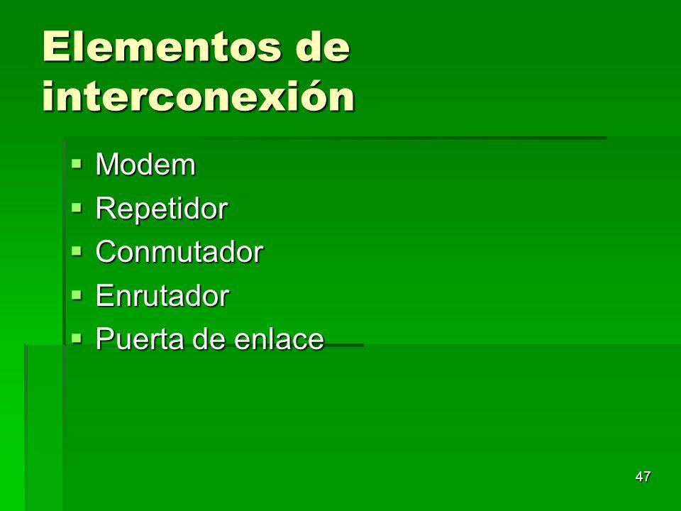 47 Elementos de interconexión Modem Modem Repetidor Repetidor Conmutador Conmutador Enrutador Enrutador Puerta de enlace Puerta de enlace