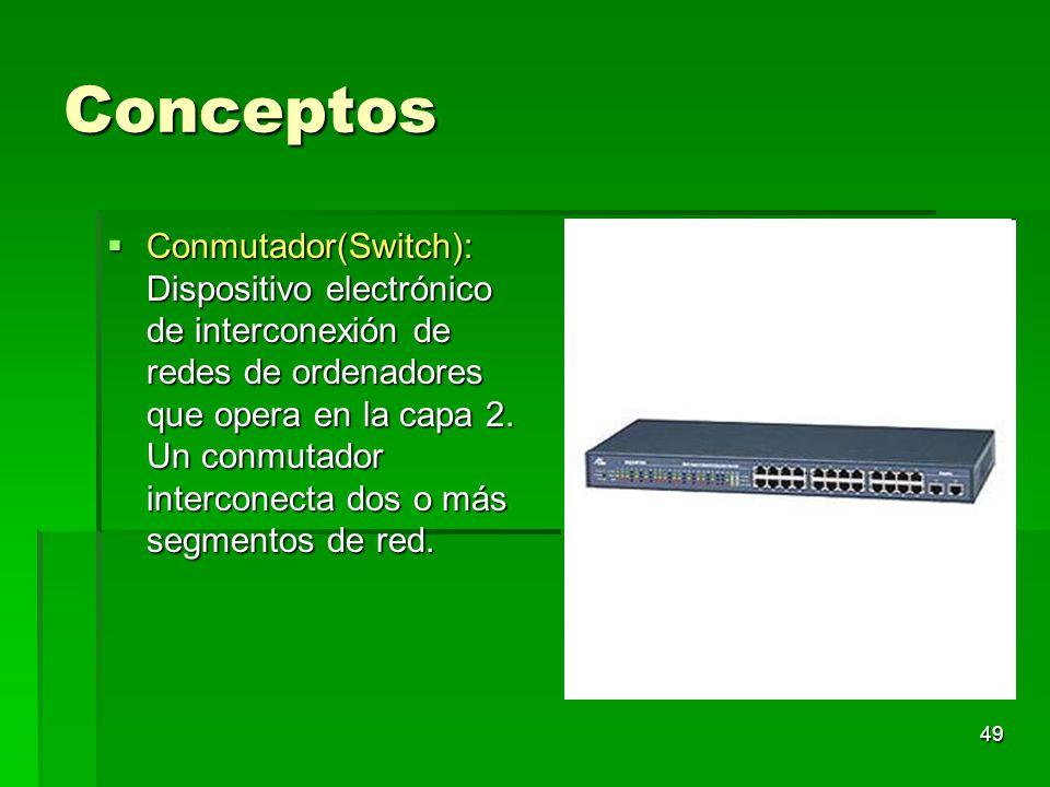 49 Conceptos Conmutador(Switch): Dispositivo electrónico de interconexión de redes de ordenadores que opera en la capa 2. Un conmutador interconecta d