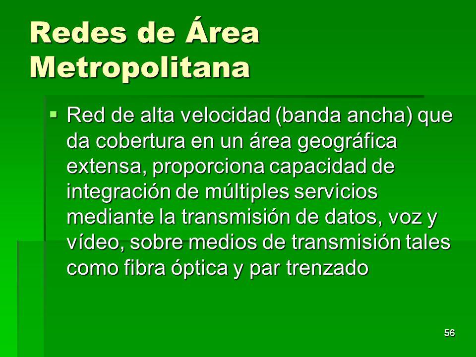 56 Redes de Área Metropolitana Red de alta velocidad (banda ancha) que da cobertura en un área geográfica extensa, proporciona capacidad de integració