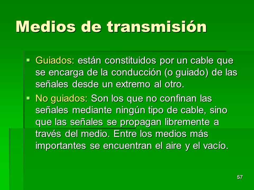 57 Medios de transmisión Guiados: están constituidos por un cable que se encarga de la conducción (o guiado) de las señales desde un extremo al otro.