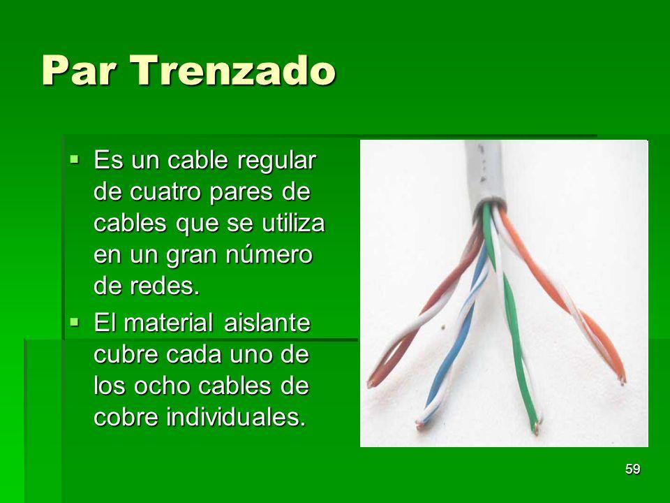 59 Par Trenzado Es un cable regular de cuatro pares de cables que se utiliza en un gran número de redes. Es un cable regular de cuatro pares de cables