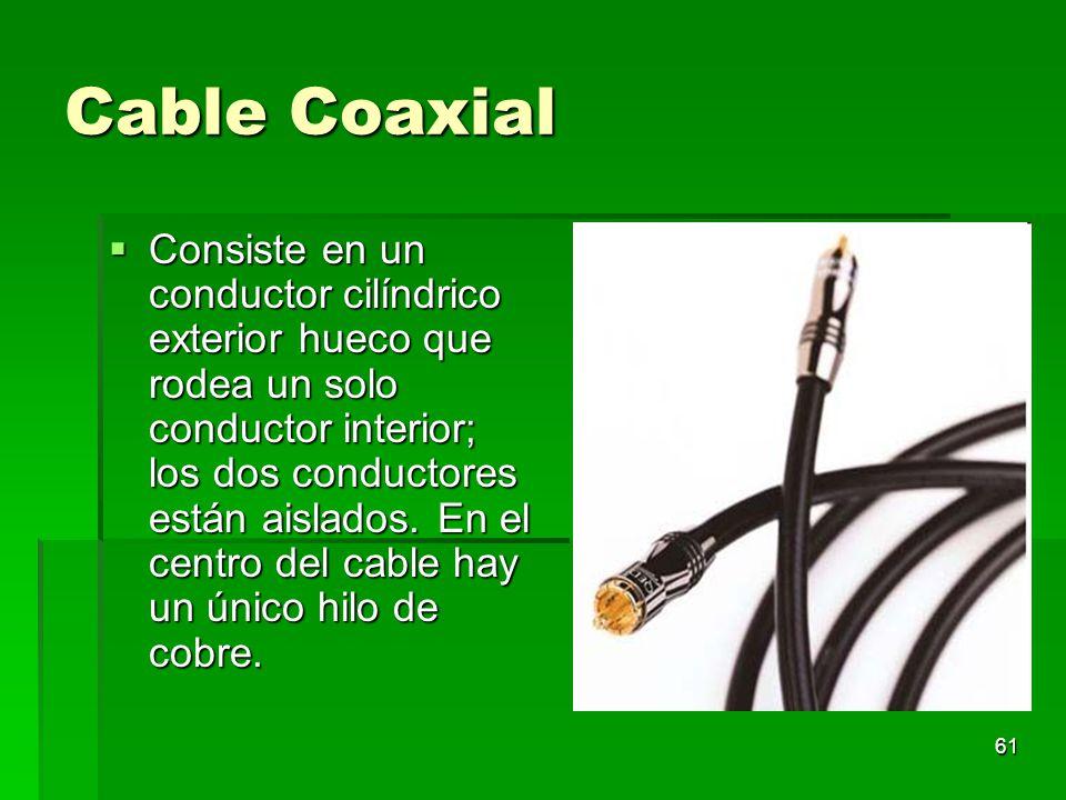 61 Cable Coaxial Consiste en un conductor cilíndrico exterior hueco que rodea un solo conductor interior; los dos conductores están aislados. En el ce