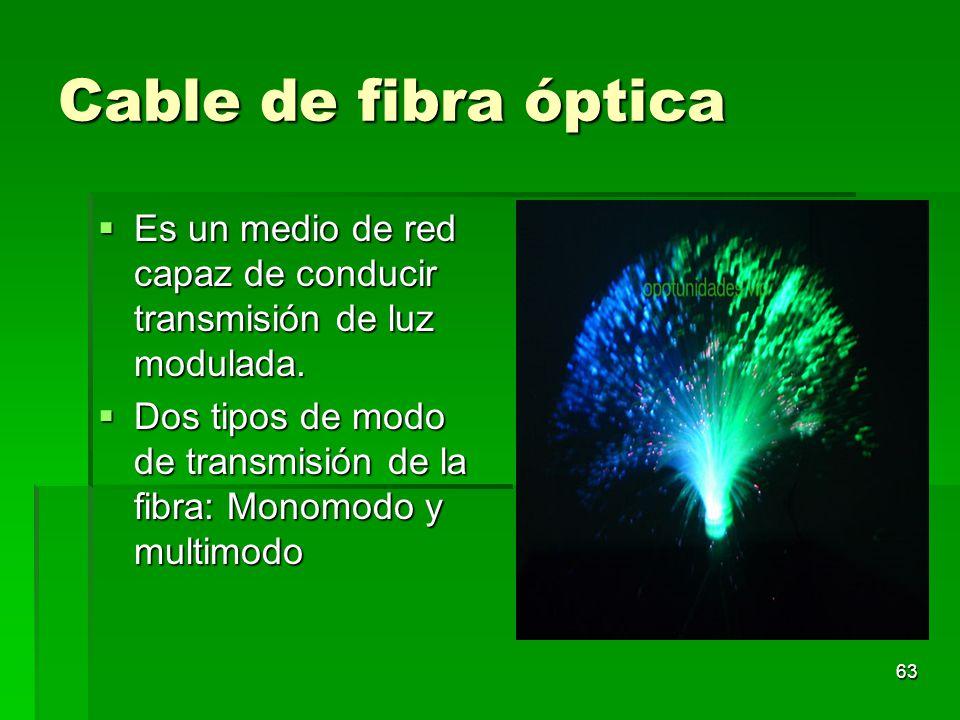 63 Cable de fibra óptica Es un medio de red capaz de conducir transmisión de luz modulada. Es un medio de red capaz de conducir transmisión de luz mod