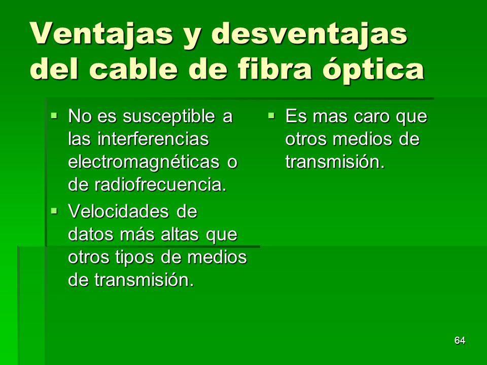 64 Ventajas y desventajas del cable de fibra óptica No es susceptible a las interferencias electromagnéticas o de radiofrecuencia. No es susceptible a