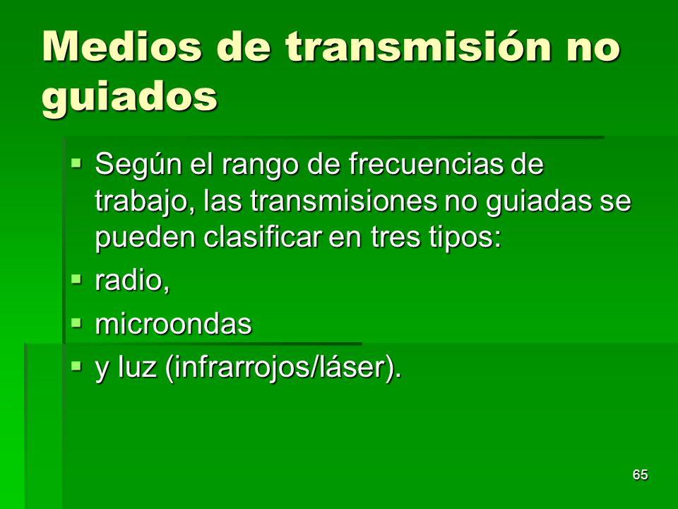 65 Medios de transmisión no guiados Según el rango de frecuencias de trabajo, las transmisiones no guiadas se pueden clasificar en tres tipos: Según e