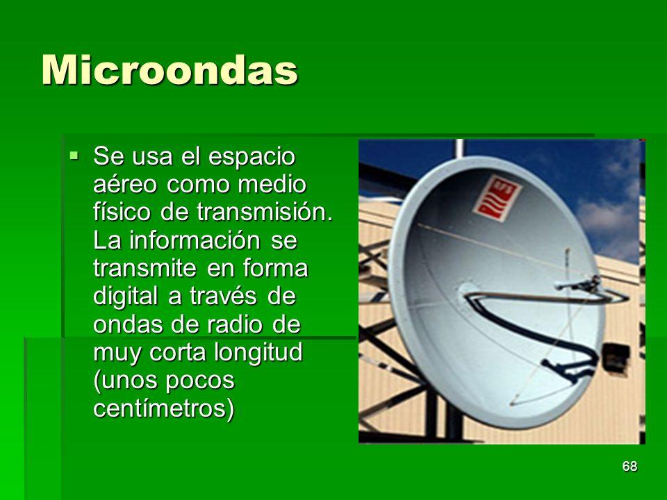 68 Microondas Se usa el espacio aéreo como medio físico de transmisión. La información se transmite en forma digital a través de ondas de radio de muy
