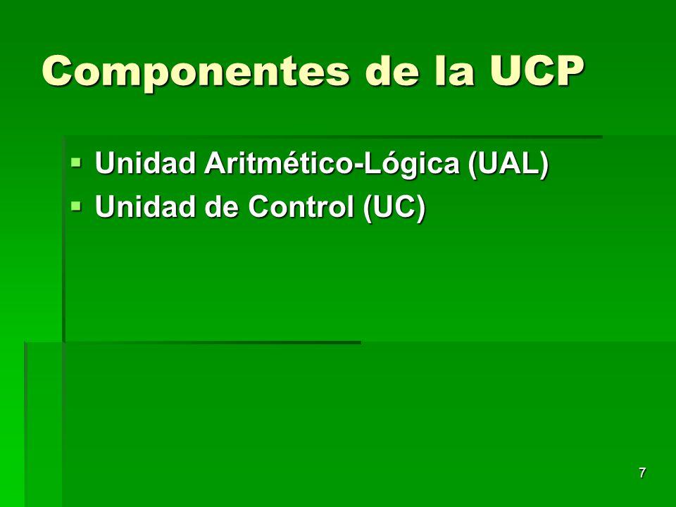 7 Componentes de la UCP Unidad Aritmético-Lógica (UAL) Unidad Aritmético-Lógica (UAL) Unidad de Control (UC) Unidad de Control (UC)