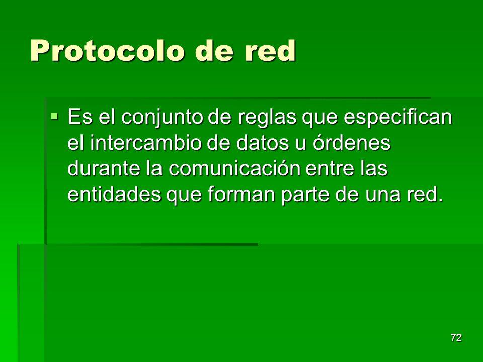 72 Protocolo de red Es el conjunto de reglas que especifican el intercambio de datos u órdenes durante la comunicación entre las entidades que forman