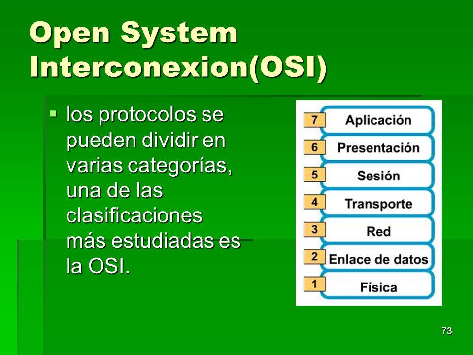 Open System Interconexion(OSI) los protocolos se pueden dividir en varias categorías, una de las clasificaciones más estudiadas es la OSI. los protoco