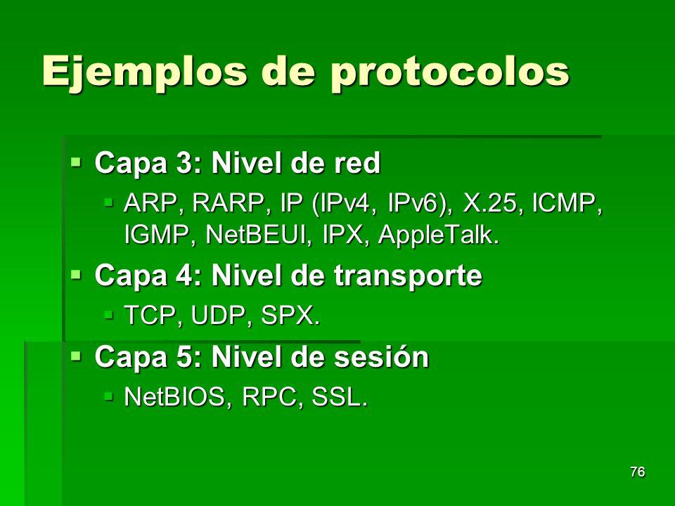 Ejemplos de protocolos Capa 3: Nivel de red Capa 3: Nivel de red ARP, RARP, IP (IPv4, IPv6), X.25, ICMP, IGMP, NetBEUI, IPX, AppleTalk. ARP, RARP, IP
