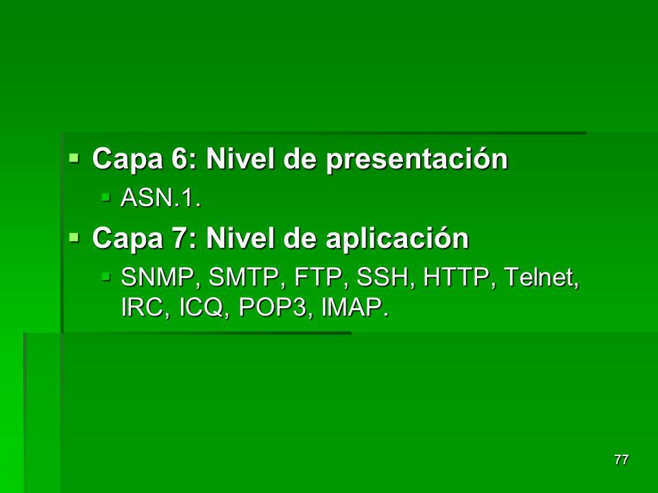 Capa 6: Nivel de presentación Capa 6: Nivel de presentación ASN.1. ASN.1. Capa 7: Nivel de aplicación Capa 7: Nivel de aplicación SNMP, SMTP, FTP, SSH