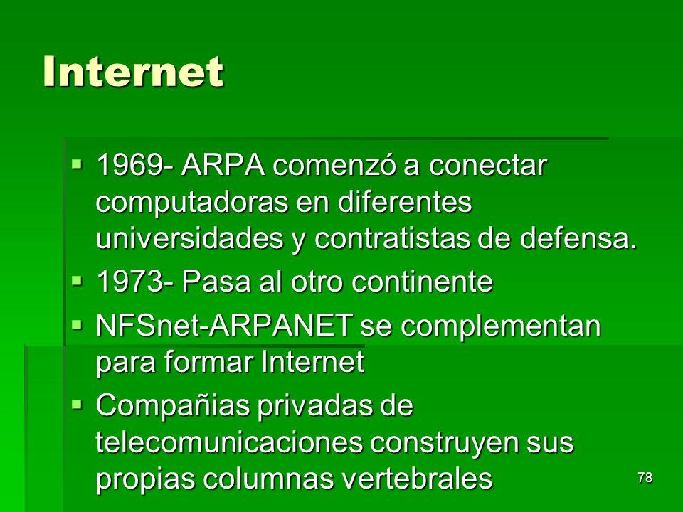 78 Internet 1969- ARPA comenzó a conectar computadoras en diferentes universidades y contratistas de defensa. 1969- ARPA comenzó a conectar computador