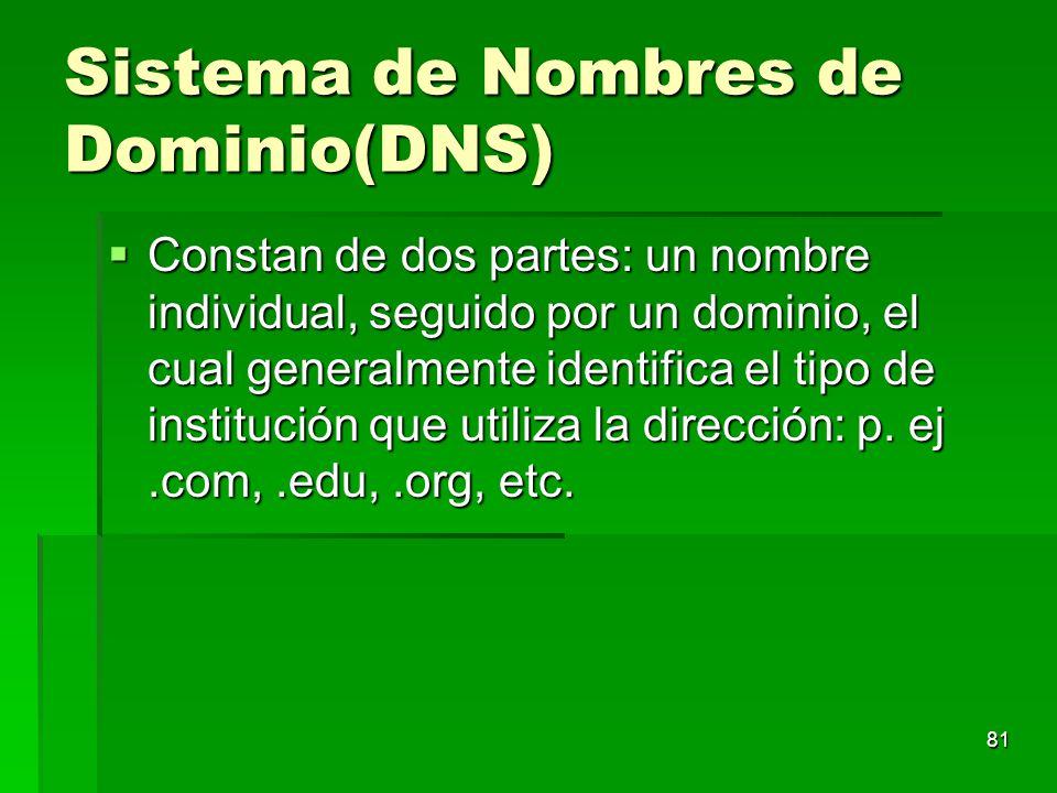 Sistema de Nombres de Dominio(DNS) Constan de dos partes: un nombre individual, seguido por un dominio, el cual generalmente identifica el tipo de ins