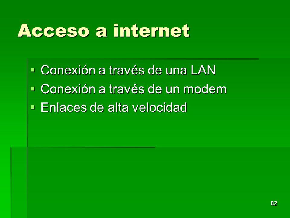 Acceso a internet Conexión a través de una LAN Conexión a través de una LAN Conexión a través de un modem Conexión a través de un modem Enlaces de alt